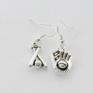 Sporty Silver Baseball Earrings